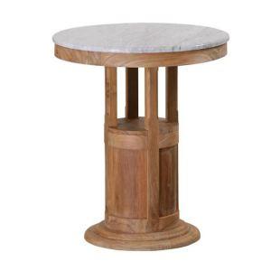 Table ronde en teck et marbre (60 cm)