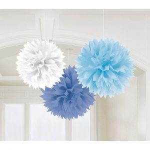 3 Boules Papier Fleurs Bleues et Blanc