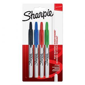 Sharpie Blister de 4 Marqueurs permanent rétractable, pointe ogive. Assortis Standard