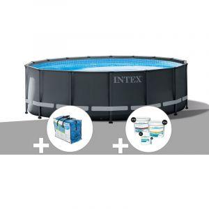 Intex Kit piscine tubulaire Ultra XTR Frame ronde 5,49 x 1,32 m + Bâche à bulles + Kit de traitement au chlore