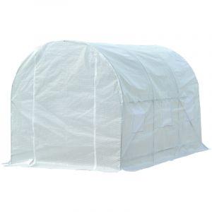 Outsunny Serre de jardin tunnel surface sol 7 m² 3,5L x 2l x 2H m châssis tubulaire renforcé 18 mm 6 fenêtres blanc