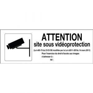 Novap Panneau Attention site sous vidéoprotection avec pictogramme - Rigide 330x120mm - 4140858