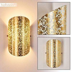Hofstein Applique murale Teramo en verre doré - Spot Up & Down avec effet lumineux pour salon - chambre à coucher - couloir - douille E14 40 Watt