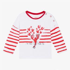 Catimini T-shirt à rayures placées et motif crustacé Blanc - Fille