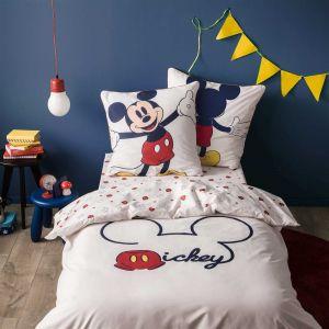 Blanc Cerise Parure housse de couette réversible Mickey (140 x 200 cm)