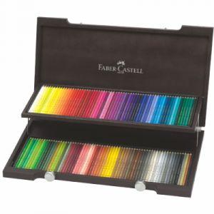 Faber-Castell Lot de 120 crayons de couleur Coffret en bois de wengé