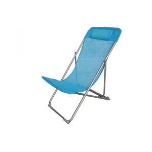 Fauteuil relax avec têtière Structure en acier et textilène 3 positions 57 x 56 x 74 cm Bleu