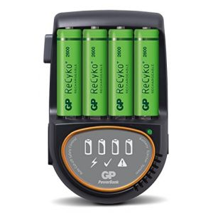 GP Batteries Chargeur GP PB50 - H500 + 4AA 2600mAh Recyko+ - Chargeur rapide et compact - Recharge : 1 - 4 piles AA / AAA - 4 canaux individuels