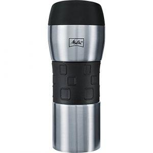 Melitta Mug Isotherme, Fermeture par Pression, 100% Hermétique, Silicone, 350 ml, Noir/Inox