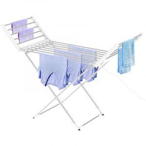 Leogreen Sèche-Linge Electrique, Sécheuse à Linge Chauffante, Classique, Blanc, Dimensions du Produit replié: 113 x 53 x 7 cm, Longueur du câble: 1,2 m