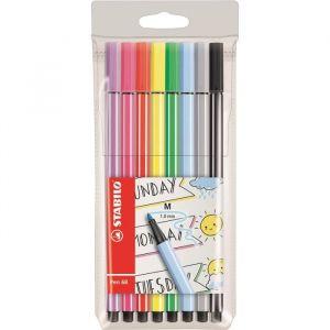 Stabilo Pen 68 - Pochette de 8 feutres pointe moyenne (Format Journal créatif) - Coloris assortis