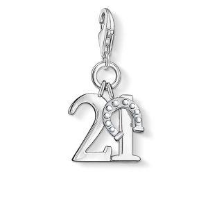 Thomas Sabo Femmes-Pendentif charm Chiffre Porte-Bonheur 21 Charm Club Argent Sterling 925 0460-001-12