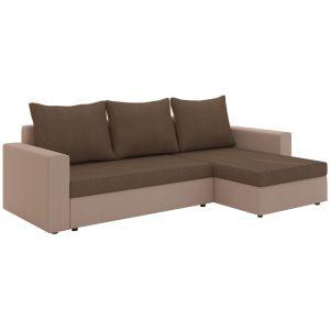 Comforium Canapé d'angle convertible 3 places en tissu brun et beige avec coffre méridienne réversible
