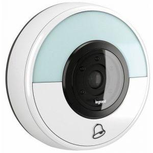 Legrand Combiné bouton poussoir connecté haut-parleur et prise de photo blanc