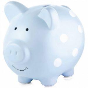 Pearhead Tirelire cochon en céramique bleue à pois