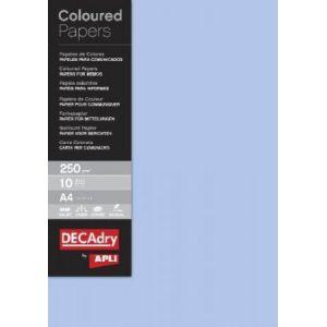 DECAdry 12185 - Etui de 10 feuilles de papier couleur A4, 250 g/m², bleu