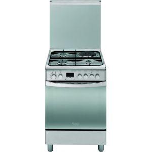 Hotpoint H6MMP6AGX - Cuisinière mixte 3 brûleurs gaz avec four électrique
