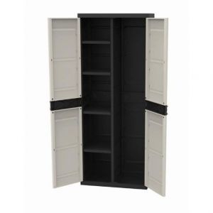 Plastiken TITANIUM Armoire 2 portes avec étagères et penderie l70 x p44 x h176 cm Beige et Noire Gamme TITANIUM Intérieur/Extérieur