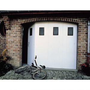 Ouest Fermeture Porte de garage coulissante en PVC avec hublots (200 x 240 cm)