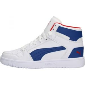 Puma Chaussure Basket Rebound Lay Up SL Youth pour Enfant, Blanc/Bleu/Rouge, Taille 38.5