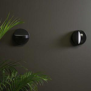 Eno Studio Applique demi lune double faisceau LED en aluminum noir Plus