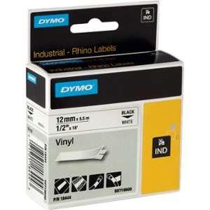 Dymo S0718600 - Étiquettes en vinyle blanc - Rouleau 1,2 cm x 5,5 m