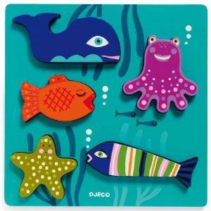 Djeco Puzzle à encastrer: Les animaux marins 5 pièces