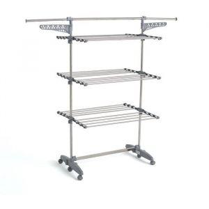 Kitchen Move Sechoir à linge EXTRA modulable multifonction + 30 ACCESSOIRES GRANDE CAPACITÉ L85-168xl68xH150 en Acier Inoxydable