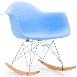 LesTendances Fauteuil à bascule bleu mat et pieds hêtre massif ... 09732b05c65b