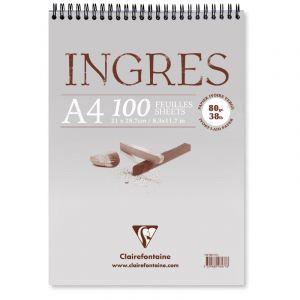 Clairefontaine 96478C - Bloc spiralé de 100 feuilles de papier vergé Ingres Etude ivoire, 80 g/m², A3