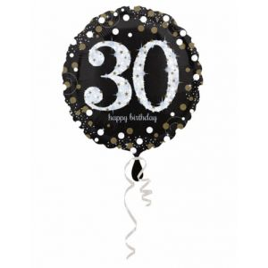 Ballon aluminium Happy Birthday scintillant 30 (45 cm)