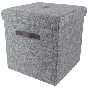 Pegane Coffre / pouf pliabe en polyester et polyuréthane coloris gris marron - Dim : H 38 x L 38 x P 38 cm -