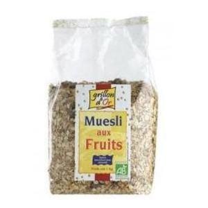 Grillon d'Or Muesli Fruits - Mélange de céréales et de fruits secs Bio sans sucres ajoutés (1 kg)