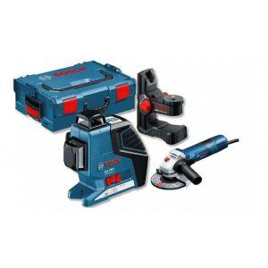 Bosch Laser ligne GLL 3-80 P + support BM1 Plus + coffret L-BOXX + Meuleuse GWS 7-125