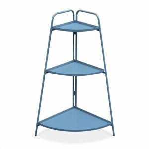 Alice's Garden Étagère d'angle Alicia bleu grisé, meuble de rangement pour intérieur et extérieur, 3 étages, acier peint par cataphorèse