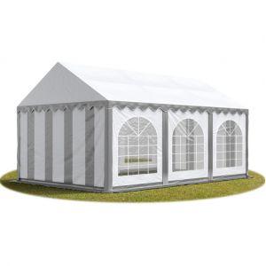 Intent24 TOOLPORT Tente Barnum de Réception 4x6 m PREMIUM Bâches Amovibles PVC 500 g/m² gris-blanc + Cadre de Sol Jardin.FR