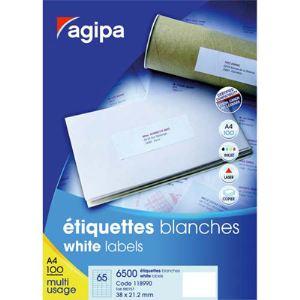 Agipa 118990 - 6500 étiquettes d'adresse coins carrés (2,12 x 3,8 cm)