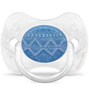 Image de Suavinex Sucette anatomique réversible Couture Ethnic bleu foncé en silicone (0-4 mois)