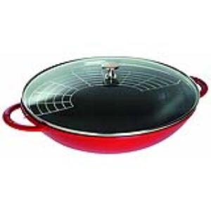 Staub 1313906 - Grand wok 37 cm avec couvercle en verre
