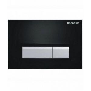 Geberit Plaque de déclenchement SIGMA 40 DuoFresh - Verre Noir/aluminium brossé -