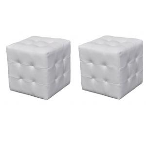 VidaXL 2 poufs cube capitonné