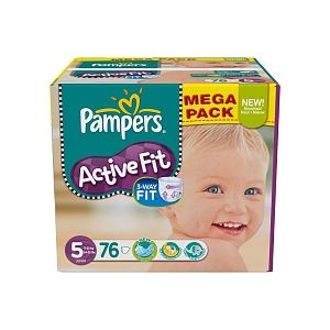 Pampers Active Fit taille 5 Junior 11-25 kg - Mega pack 76 couches