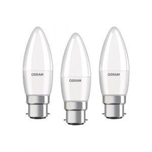Osram LED BASE CLASSIC B / Lampe LED, de forme flamme, avec un culot à baïonnette: B22d, 5,70 W, 220%u2026240 V, 40 W remplacement, dépolie, 2700 K, 3pack