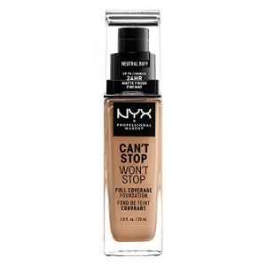NYX Cosmetics Can't Stop Won't Stop - Fond de Teint Liquide Couvrant Tenue Waterproof - Neutral Buff - 24 h