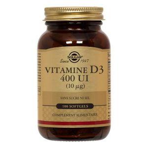 Solgar Vitamine d3 400 ui - 10 microgrammes, 100 gélules souples