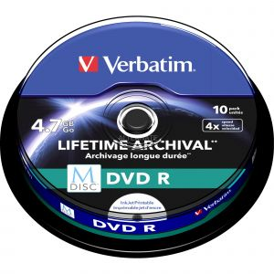 Image de Verbatim 1x10 M-Disc DVD R 4 7GB 4x Speed Cakebox printable