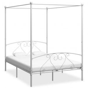 VidaXL Cadre de lit à baldaquin Blanc Métal 160 x 200 cm