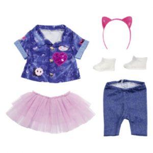 Zapf Creation Tenue de poupée Deluxe Ensemble Robe Jean 43 cm Accessoires pour poupée vêtements de poupée, Violet/Rose/Jean