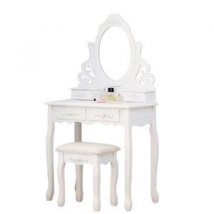 Coiffeuse classique blanche + tabouret - L 75 cm - Panneaux particules blanc - Coiffeuse L75 x P40 x H145 cm, tabouret L37 x P28 x H45 cm - 4 tiroirs, 1 miroir