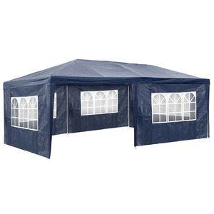 TecTake Pavillon de jardin bleu avec 5 panneaux latéraux